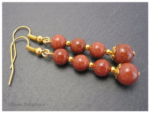 Tan Brown Sandstone & Gold Plated Beaded Drop Fashion Earrings